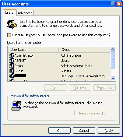 log into windows without password xp